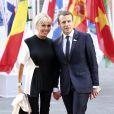 Le Président français Emmanuel Macron et sa femme la première dame Brigitte Macron arrivent au concert de la Neuvième Symphonie de Beethoven à l'Elbphilharmonie de Hamburg, le 7 juillet 2017. © Future-Image/Zuma Press/Bestimage