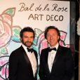 """Cyril et son compagnon Stéphane Bern - Bal de la Rose """"Art Deco"""" à Monaco le 28 mars 2015."""