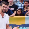 """Michael Phelps sur le tournage de """"Good Morning America"""" pour la présentation de sa course contre un requin à New York le 20 juillet 2017"""