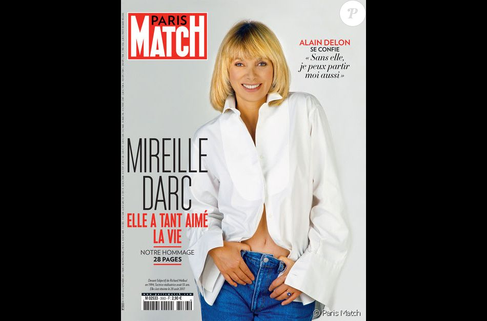 couverture de paris match num ro sp cial en hommage mireille darc. Black Bedroom Furniture Sets. Home Design Ideas