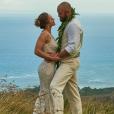 Ronda Rousey et Travis Browne lors de leur mariage célébré à Hawai le 26 août 2017.