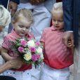La princesse Charlene de Monaco, la princesse Gabriella et le prince Jacques durant le traditionnel pique-nique des monégasques au parc Princesse Antoinette à Monaco le 1er septembre 2017. © Olivier Huitel/Pool restreint Monaco/Bestimage