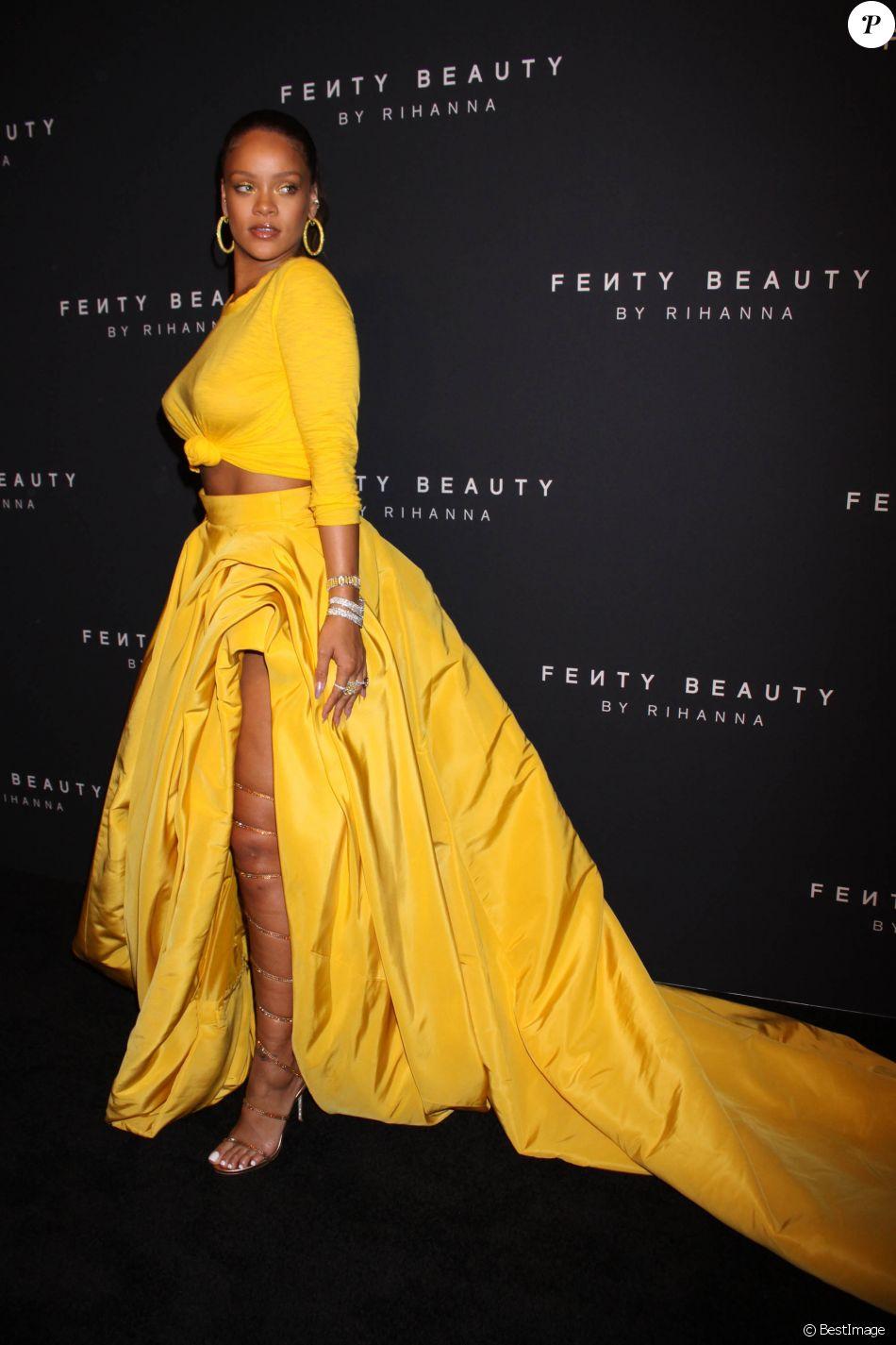 """Rihanna à la soirée de lancement de sa marque de produits de beauté """"Fenty Beauty by Rihanna"""" à New York, le 7 septembre 2017."""