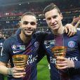 Layvin Kurzawa, Julian Draxler - Le PSG (Paris-Saint-Germain) remporte la finale de la Coupe de la Ligue 2017 (4-1) face à l'ASM (Association Sportive de Monaco) au Parc OL à Lyon, le 1er avril 2017. © Cyril Moreau/Bestimage