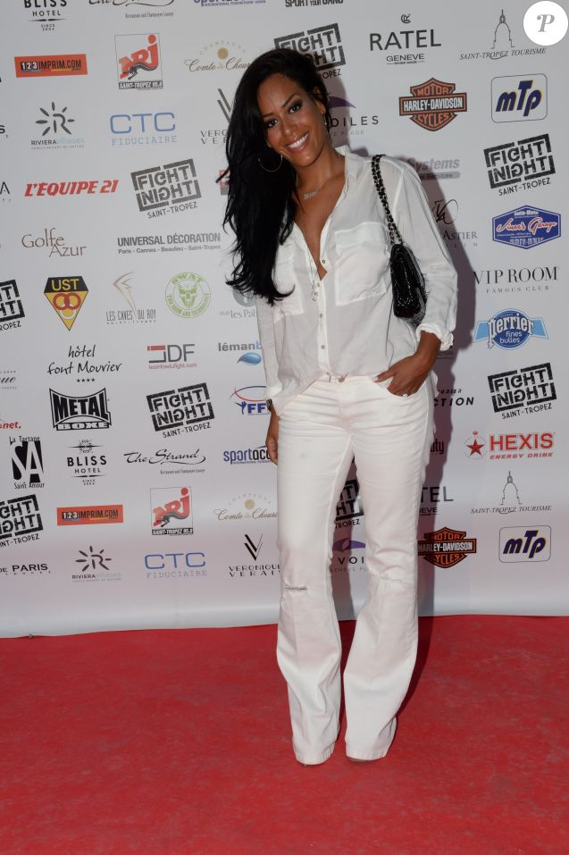 "Semi-Exclusif - Amel Bent - People à la 3ème édition de la ""Fight Night"" à Saint-Tropez. Le 4 août 2015."