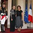 Claudine et Mireille Aoun - Dîner d'Etat au Palais de l'Elysée en l'honneur de M. Aoun, Président de la République Libanaise, à Paris, le 25 septembre 2017. © Dominique Jacovides/Bestimage