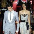 """Noé Elmaleh, le fils de Gad Elmaleh, défile à Milan pour le """"Secret show"""" de la maison Dolce & Gabbana avec le mannequin Yvonne pour la collection printemps-été 2018 le 23 septembre 2017."""