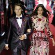 """Brandon Thomas Lee (fils de Pamela Anderson) et Coco König défilent à Milan pour le """"Secret show"""" de la maison Dolce & Gabbana pour la collection printemps-été 2018 le 23 septembre 2017."""