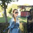 Lindsay Lohan et un ami dans un parc d'attractions à Madrid, le 18 septembre 2017.18/09/2017 - Madrid