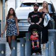 Exclusif - Lionel Messi, sa femme Antonella Roccuzzo avec leurs fils, Mateo et Thiago et les enfants de L. Suárez et sa femme S. Balbi, Benjamin et Delfina - Barcelone, le 22 août 2017.
