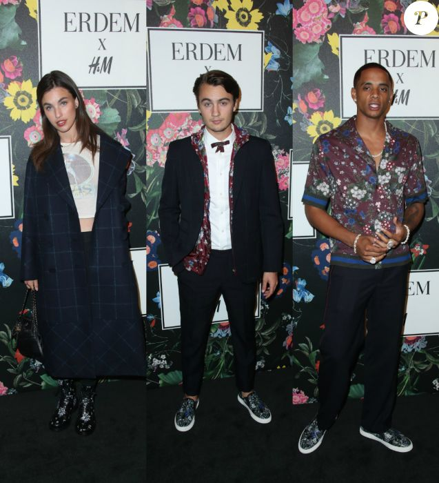Rainey Qualley, Brandon Thomas Lee et Cordell Broadus au défilé Erdem x H&M à Los Angeles. Le 18 octobre 2017.