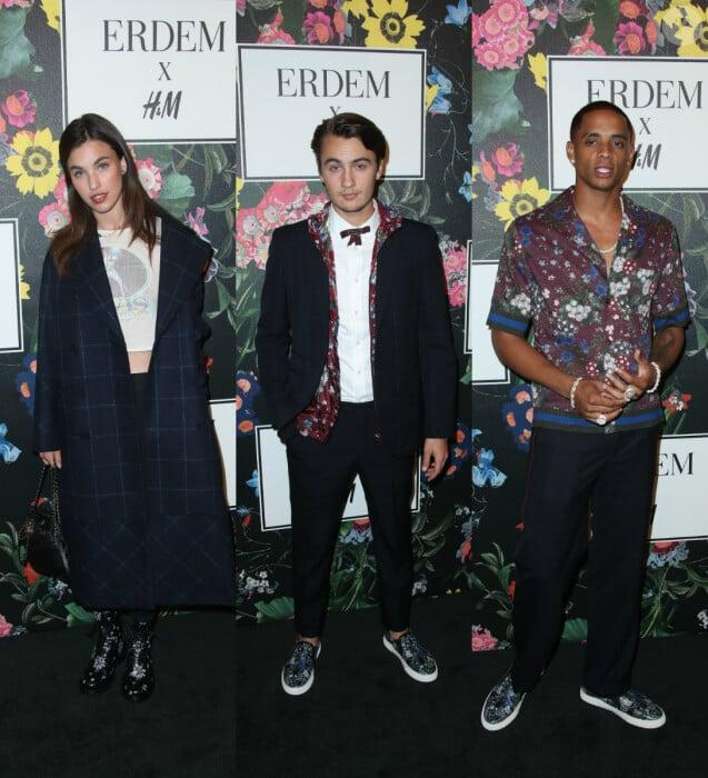 Rainey Qualley, Brandon Thomas Lee et Cordell Broadus au défilé Erdem x H&M à Los Angeles. Le 18 octobre 2017.