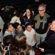 Exclusif - Thierry Lhermitte et Francis Huster avec des élèves - 1re soirée du tout 1er Festival du Théâtre Français en Israël, organisé par Steve Suissa à Tel Aviv, le 22 octobre 2017. © Erez Lichtfeld/Bestimage