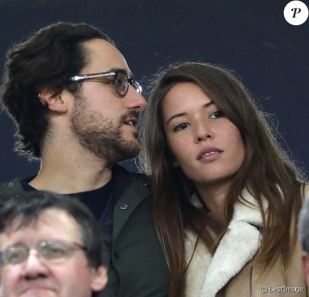 Thomas Hollande et Emilie Broussouloux au Stade de France le 11 novembre 2017 lors du match de rugby France - Nouvelle-Zélande (18-38), à Saint-Denis.