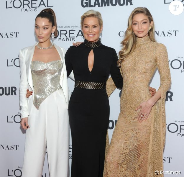 Bella, Yolanda et Gigi Hadid - Glamour Women of the Year Awards au Kings Theater. New York, le 13 novembre 2017.