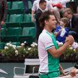 Dominic Thiem et Novak Djokovic (1/4 de finale) - Jour 11 - Les célébrités dans les tribunes des internationaux de tennis de Roland Garros à Paris. Le 7 juin 2017 © Jacovides-Moreau / Bestimage