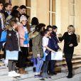 La Première Dame Brigitte Macron accueille les enfants de l'UNICEF pour la Journée Internationale des Droits de l'Enfant au Palais de l'Elysée à Paris, le 20 novembre 2017. © Stéphane Lemouton/Bestimage