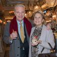 Exclusif - Alain Flammarion et sa femme Suzanna - Soirée d'inauguration du Café Pouchkine au 16, place de la Madeleine dans le 8ème arrondissement à Paris le 29 novembre 2017. © Julio Piatti/Bestimage