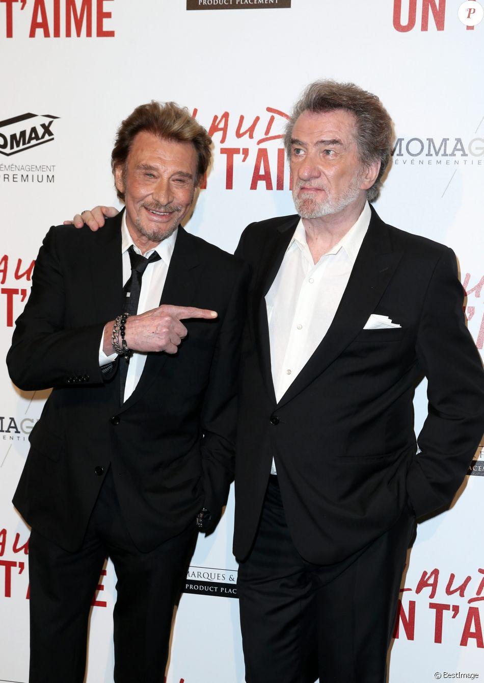 Johnny Hallyday et Eddy Mitchell - Avant-première de 'Salaud on t'aime' à l'UGC Normandie sur les Champs-Elysées à Paris le 31 mars 2014.