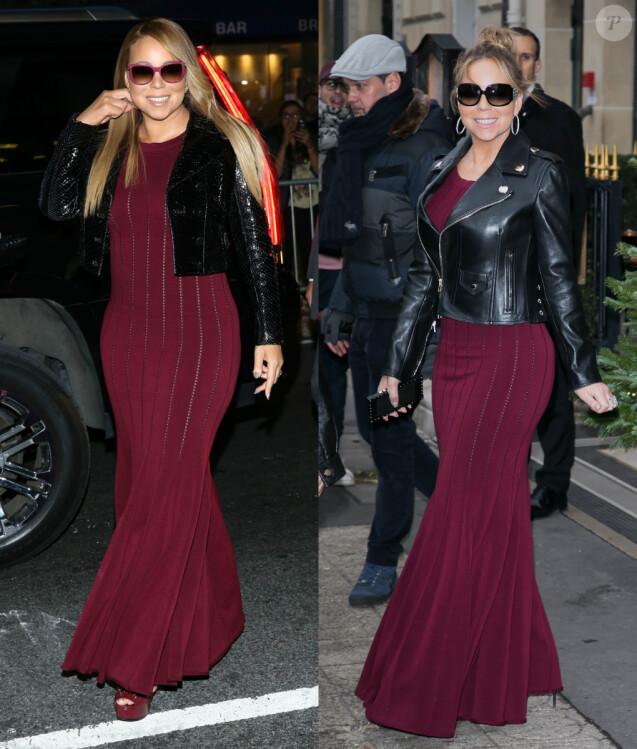 Mariah Carey, photographiée en septembre 2015 et décembre 2017 dans la même robe ALAÏA.