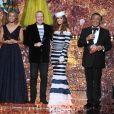 Sylvie Tellier, Jean-Paul Gaultier, Iris Mittenaere et Jean-Pierre Foucaut - Concours Miss France 2018. Sur TF1, le 16 décembre 2017.