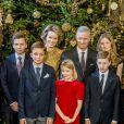 Le prince Gabriel, le prince Aymeric, la reine Mathilde, la princesse Eleonore, le roi Philippe, la princesse Elisabeth, le prince Emmanuel, le prince Nicolas - La famille royale de Belgique assiste au traditionnel concert de Noël au palais royal à Bruxelles le 20 décembre 2017. 20/12/2017 - Bruxelles