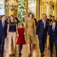 Le prince Gabriel, la princesse Elisabeth, la princesse Eleonore, la reine Mathilde, le roi Philippe, le prince Emmanuel - La famille royale de Belgique assiste au traditionnel concert de Noël au palais royal à Bruxelles le 20 décembre 2017. 20/12/2017 - Bruxelles
