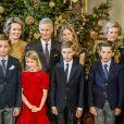 La princesse Claire, le prince Gabriel, le prince Aymeric, la reine Mathilde, la princesse Eleonore, le roi Philippe, la princesse Elisabeth, le prince Emmanuel, le prince Nicolas, la princesse Astrid, le prince Lorentz, la princesse Luisa Maria - La famille royale de Belgique assiste au traditionnel concert de Noël au palais royal à Bruxelles le 20 décembre 2017. 20/12/2017 - Bruxelles