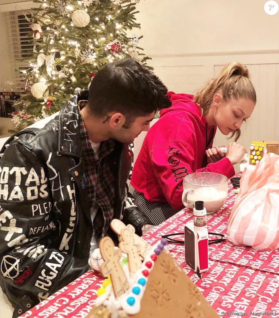 Gigi Hadid et Zayn Malik fêtent Noël. Décembre 2017.