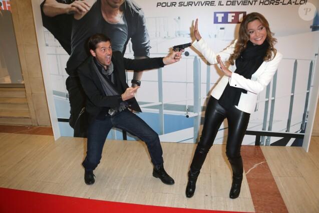 """Christophe Beaugrand et Sandrine Quétier - Avant première de """"No limit"""" a Paris le 13 Novembre 2012."""