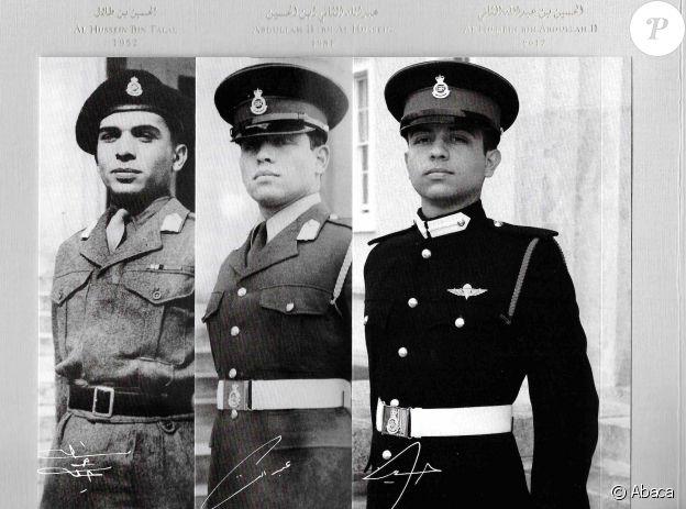 Le roi Hussein (en 1952), le roi Abdullah II (en 1981) et le prince héritier Hussein (en 2017) de Jordanie, photographiés lors de leur cérémonie de sortie de l'Académie militaire royale de Sandhurst, photomontage utilisé par la cour royale hachémite pour sa carte de voeux diffusée le 18 décembre 2017.