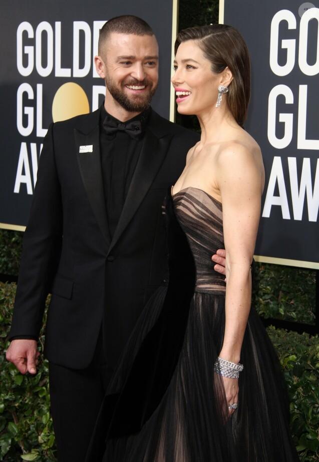Jessica Biel et son mari Justin Timberlake sur le tapis rouge de la 75ème cérémonie des Golden Globe Awards au Beverly Hilton à Los Angeles, le 7 janvier 2018.