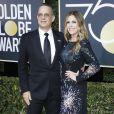 Tom Hanks et sa femme Rita Wilson sur le tapis rouge de la 75ème cérémonie des Golden Globe Awards au Beverly Hilton à Los Angeles, le 7 janvier 2018.