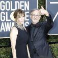 Kate Capshaw et sa femme Steven Spielberg sur le tapis rouge de la 75ème cérémonie des Golden Globe Awards au Beverly Hilton à Los Angeles, le 7 janvier 2018.