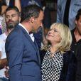 """Exclusif - France Gall avec Nikos Aliagas lors de l'enregistrement de l'émission """"La Chanson de l'Année, Fête de la Musique"""" dans les arènes de Nîmes, le 20 juin 2015."""