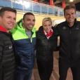 La princesse Charlene de Monaco avec son frère Gareth Wittstock, Bryan Habana et Ryk Neethling, photo parue sur son compte Instagram le 23 novembre 2017 en soutien à l'équipe de rugby de Monaco.