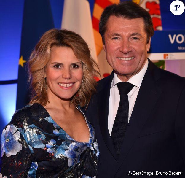 Exclusif - Christian Estrosi, le maire de Nice, est avec sa femme Laura Tenoudji lors de la cérémonie de la présentation des Voeux aux Corps Constitués des Alpes Maritimes à Nice, France, le 12 janvier 2018. © Bruno Bebert/Bestimage