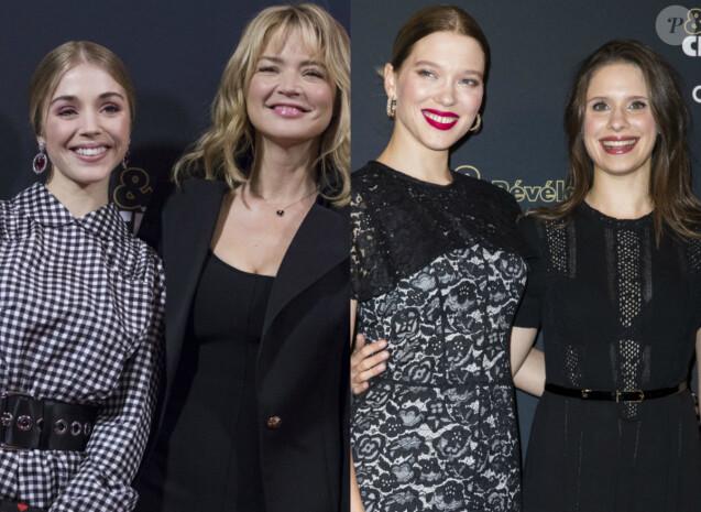 Léa Seydoux et Virginie Efira avec leurs espoirs lors de la soirée des Révélations aux César 2018, le 15 janvier 2018 à Paris.