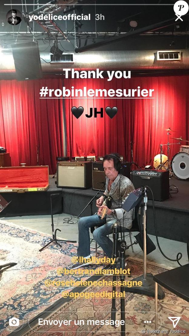 Robin Le Mesurier, guitariste de Johnny Hallyday, de nouveau au travail au studio Apogee à Santa Monica, janvier 2018.