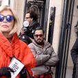 Amanda Lear au défilé de mode Jean Paul Gaultier, collection haute-couture printemps-été 2018, à Paris. Le 24 janvier 2018