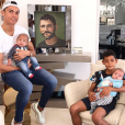 Photo de Cristiano Ronaldo et ses trois enfants, Cristiano Jr, Eva et Mateo. Septembre 2017.