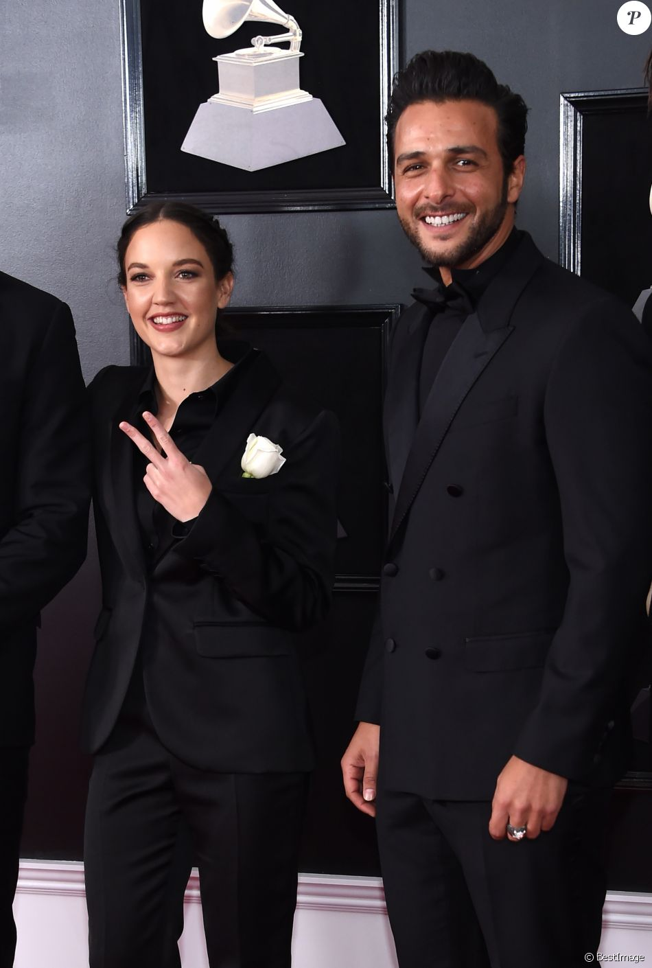 Exclusif - Jain et son producteur Maxim Nucci (Yodelice) à la 60ème soirée annuelle des Grammy Awards à Madison Square Garden à New York, le 28 janvier 2018 © Chris Delmas/Bestimage
