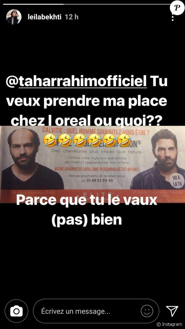 Post de Leïla Bekhti visant son mari Tahar Rahim dans sa story Instagram.