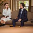 La reine Rania de Jordanie regardant avec fierté son fils le prince héritier Hussein lors de l'accueil au palais Husseinieh du gouverneur général d'Australie et son épouse en octobre 2017, photo Instagram