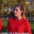 """Camille Cerf et Flora Coquerel s'essayent au rugby dans """"Bienvenue chez nous"""" (TF1) jeudi 8 février 2018."""