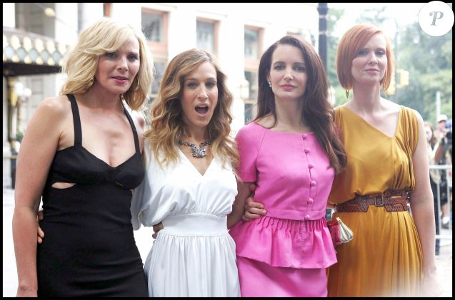 "Kim Cattrall, Sarah Jessica Parker, Kristin Davis et Cynthia Nixon  sur le tournage du film ""Sex And The City 2 "" à New York le 6 septembre 2009."