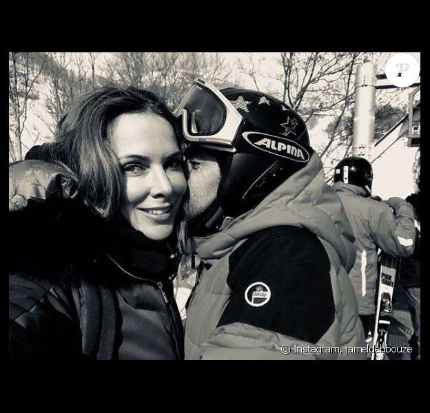 Jamel Debbouze et Mélissa Theuriau à la montagne. Février 2018.