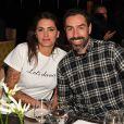 "Robert Pirès et sa femme Jessica lors du dîner ""Global Gift Celebration"" à Londres, le 26 février 2018."