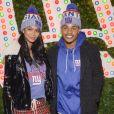 Chanel Iman et son fiancé Sterling Shepard assistent au lancement de la nouvelle collection 'New Era' dans le magasin Macy's Herald Square à New York, le 12 décembre 2017.