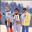 Le prince Albert de Monaco avec la princesse Caroline de Monaco et son mari Stefano Casiraghi en février 1985 à St Moritz.